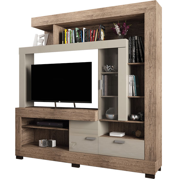 Entertainment center for tvs until 47 acacia linea brasil for Fenda muebles